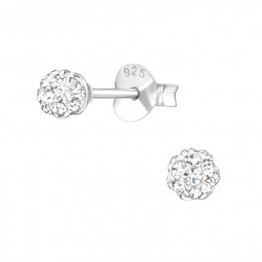 925 stud oorbel ball  crystal 3 mm
